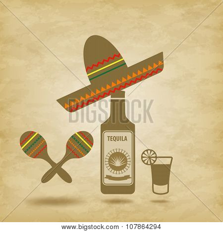 Mexico Icons Grunge Background