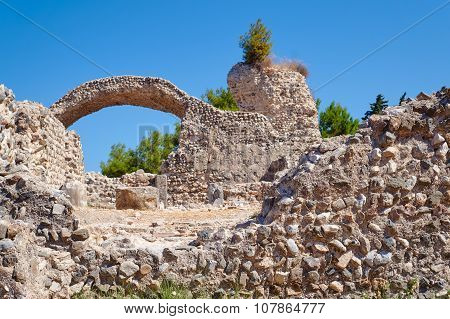 The ruins of the ancient buildings