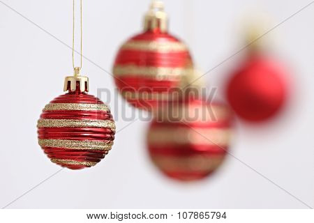 colored Christmas balls and suspended