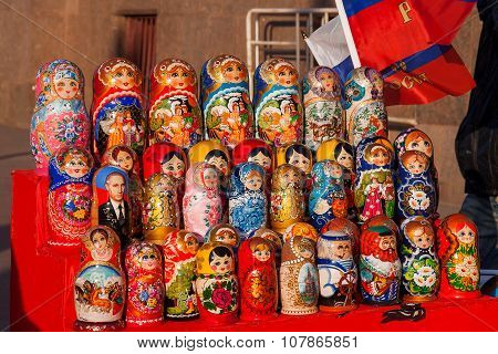 Moscow, Russia - March 31, 2008. Russian Traditional Dolls - Matryoshka with portrait of Putin V.V.