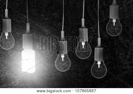 Two type of lamps on white background