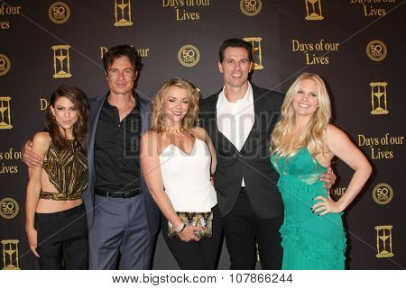 LOS ANGELES - NOV 7:  Kate Mansi, Patrick Muldoon, Christie Clark, Austin Peck, Terri Conn at the Days of Our Lives 50th Anniversary at the Hollywood Palladium on November 7, 2015 in Los Angeles, CA