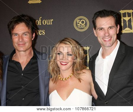 LOS ANGELES - NOV 7:  Patrick Muldoon, Christie Clark, Austin Peck at the Days of Our Lives 50th Anniversary Party at the Hollywood Palladium on November 7, 2015 in Los Angeles, CA