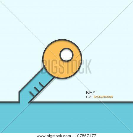 Vector modern outline flat design of key