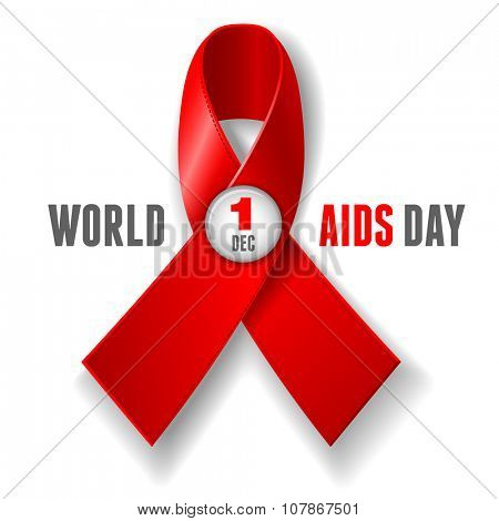 World AIDS Day concept poster with red ribbon of AIDS awareness. Isolated on white background. Vector illustration.