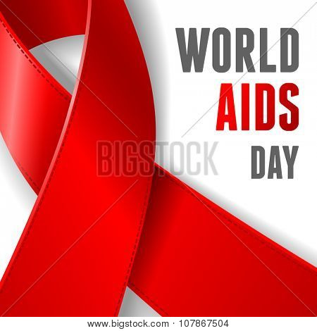 World AIDS Day concept poster with red ribbon of AIDS awareness (symbol for solidarity with HIV-positive people) on white background. Vector illustration.