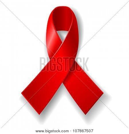 World AIDS Day concept poster with red ribbon of AIDS awareness. The red ribbon is a symbol for solidarity with HIV-positive people. Isolated on white background. Vector illustration.