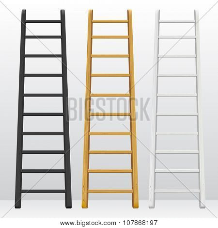 Wooden step ladders set of different colors isolated on white background. Vector illustration
