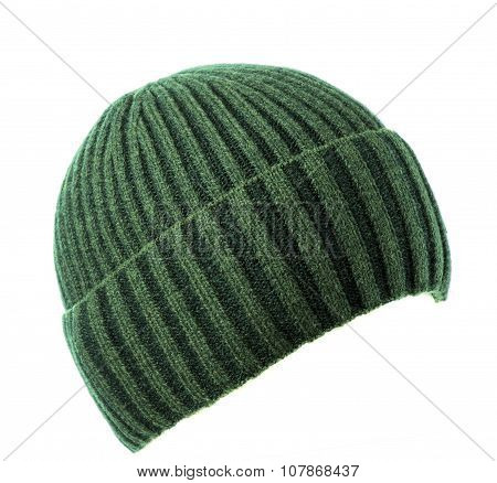 Knitted  Beanieisolated On White Background