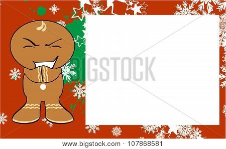 xmas gingerbread kid cartoon expression frame