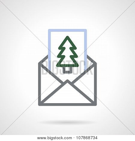 Envelope with greetings color line vector icon