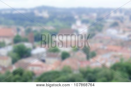 Defocused Background Of Central Vilnius. Intentionally Blurred Post Production