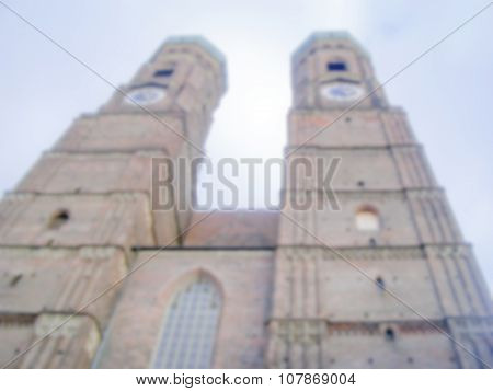 Defocused Background Of Munich Frauenkirche. Intentionally Blurred Post Production