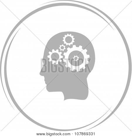 human brain. Internet button. Raster icon.