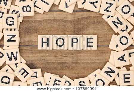 Hope Spelled Out In Tan Tile Letters