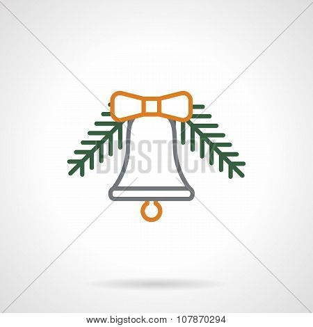 Color line Xmas bell vector icon