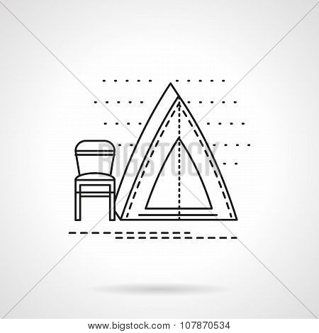 Camping tent flat line vector icon