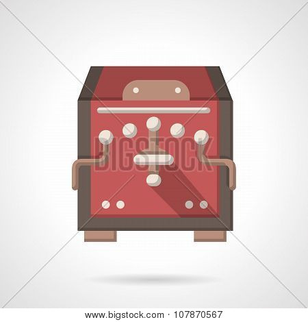 Red coffee equipment flat color vector icon