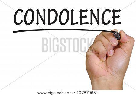 Hand Writing Condolence Over Plain White Background