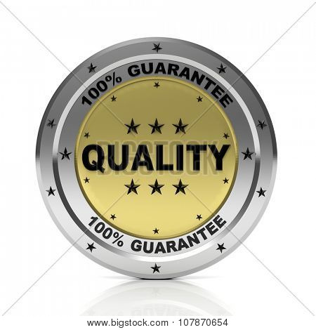 Round metallic !00%  quality badge, isolated on white background.
