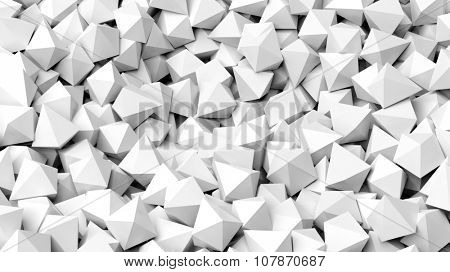 3D white polyhedrons pile abstract background