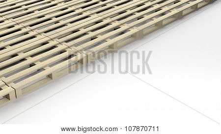 Wooden pallets isolated on white background with copy-space
