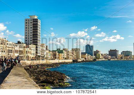 HAVANA, CUBA - CIRCA AUGUST 2015: The Malecon in Havana, Cuba