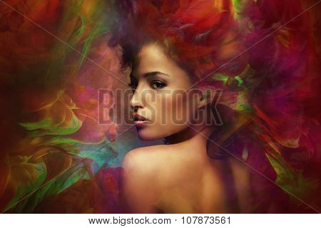 fantasy colorful beautiful young woman portrait, composite photo