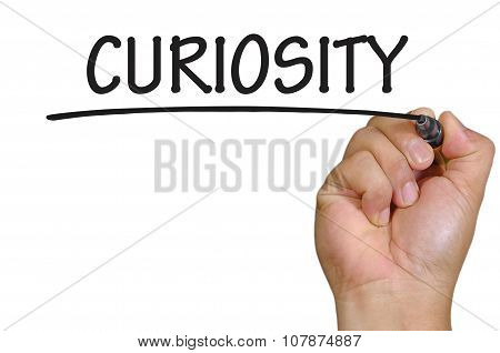 Hand Writing Curiosity  Over Plain White Background