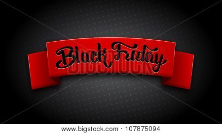 Realistic red ribbon for Black Friday Sale.