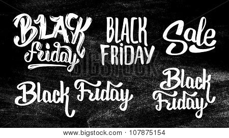 Black Friday Sale stickers set on black chalkboard