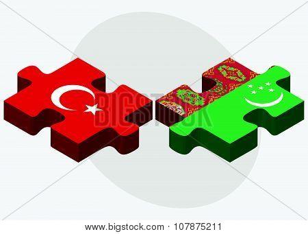 Turkey And Turkmenistan Flags