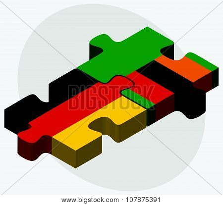 Germany And Zambia Flags In Puzzle