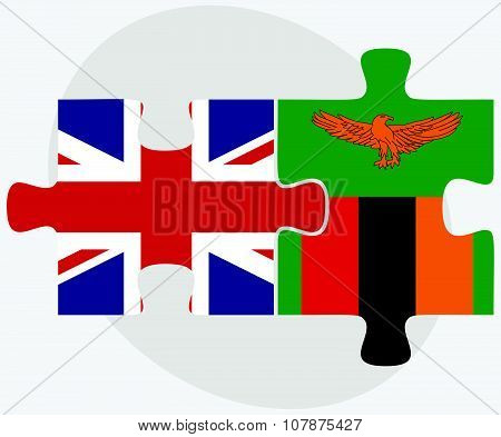 United Kingdom And Zambia Flags
