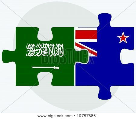 Saudi Arabia And New Zealand Flags