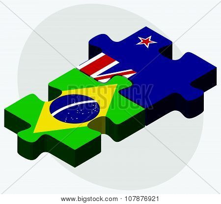 Brazil And New Zealand Flags
