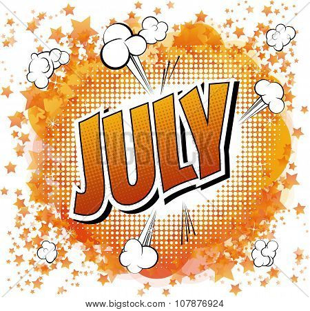 July - Comic book style word