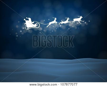 Vector reindeer and Santa Claus on moon background.
