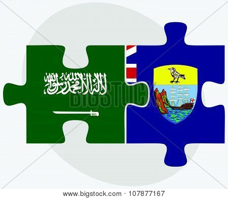 Saudi Arabia And Saint Helena Flags
