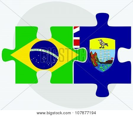 Brazil And Saint Helena Flags