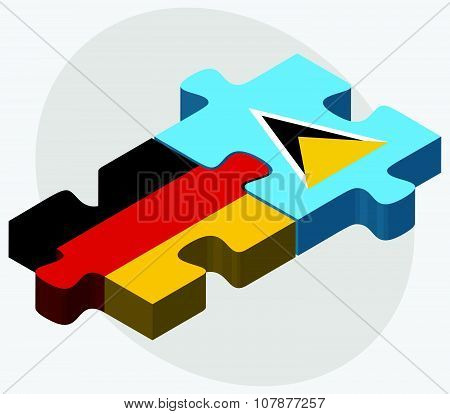 Germany And Saint Lucia Flags