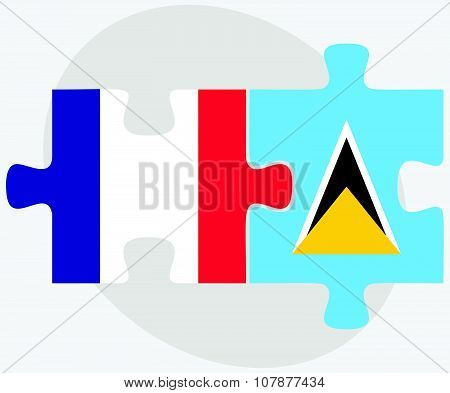 France And Saint Lucia Flags