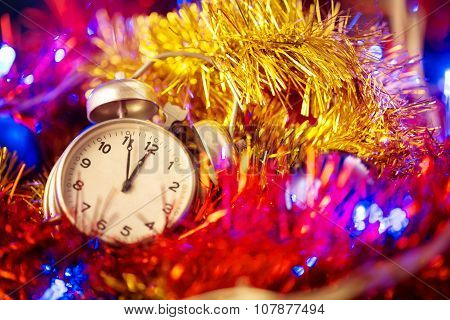 Background with clock and christmas decorations