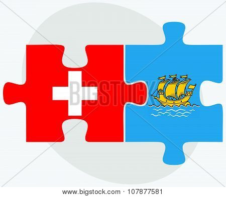 Switzerland And Saint Pierre And Miquelon Flags