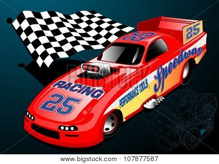 Red Dragster Racing Car With Chequered Flag And Engine Illustration