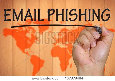 Hand Writing Email Phishing Over Blur World Background
