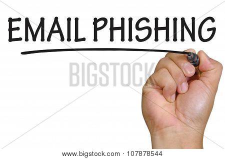 Hand Writing Email Phishing Over Plain White Background
