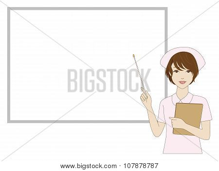 Nurse Holding A Pointer In Front Of A Whiteboard