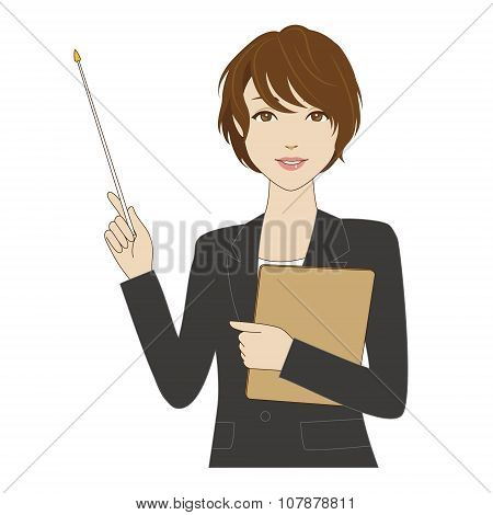 Female Office Worker Holding A Pointer