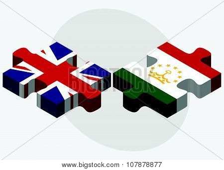 United Kingdom And Tajikistan Flags